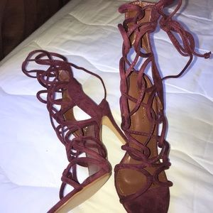 Laced burgundy heels